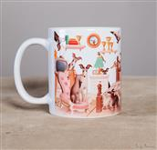 Funny Naif-style greyhounds run around this cup.
