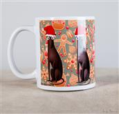 Funny Naif-style greyhounds run around this cup.  A tender gift for greyhound